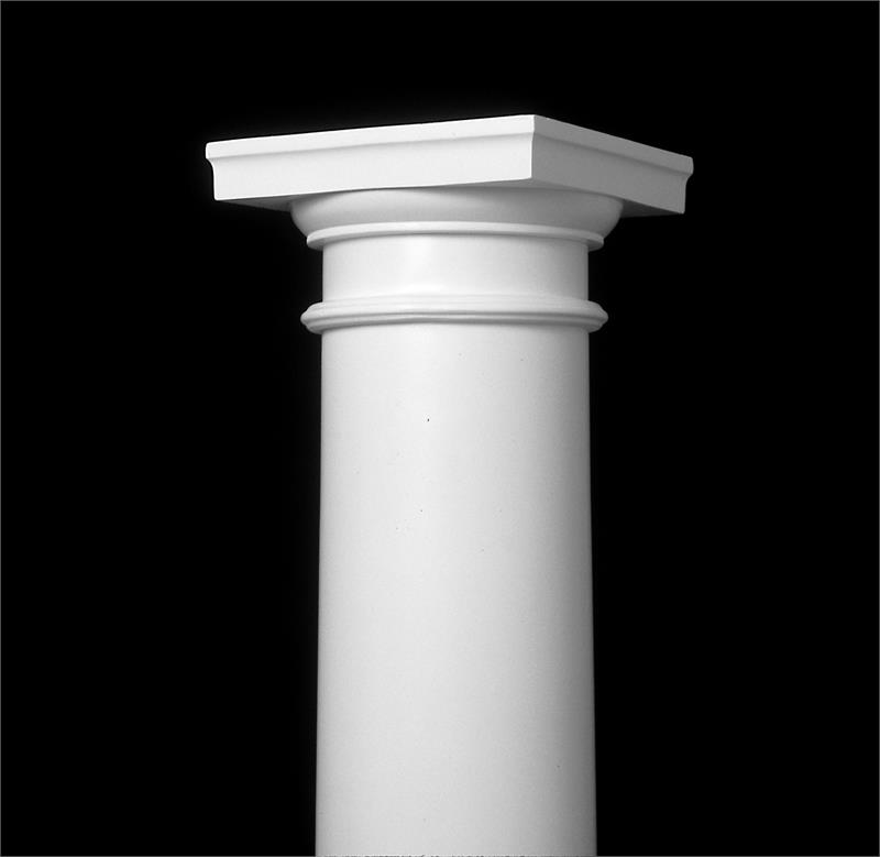 Fiberglass Column Caps : Tuscan cap and base for round taper permacast columns